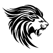 roaring lion profile portrait - side view animal head black and white vector design