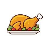 Roast turkey or chicken icon, flat cartoon vector illustration. Thanksgiving day dinner.