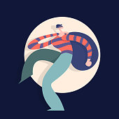 Robber with a bag on his back. Vector illustration in flat style