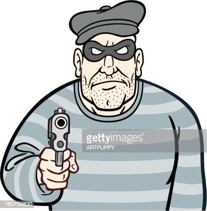 Robber With Gun : Vector Art