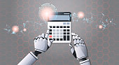 robot accountant using calculator top angle view artificial intelligence digital futuristic technology concept horizontal vector illustration