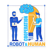 Robot and Human. Man Creating Cybernetic Brain. Productive Symbiotic Cooperation, Mutual Improvement. Future Technology, Innovation, Progress Concept. Human and Artificial Intelligence at Common Work