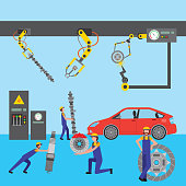 robot arm for automotive engineering with car parts  vector illustration