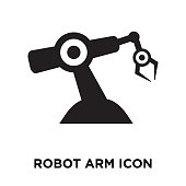 Robot arm icon vector isolated on white background, logo concept of Robot arm sign on transparent background, filled black symbol