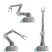 Robot arm vector illustration techno manufacture set of machine equipment.