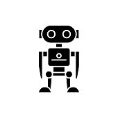 Robot black icon, concept vector sign on isolated background. Robot illustration, symbol