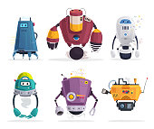 Set of robot characters. Technology, future. Cartoon vector illustration. Friendly android assistant