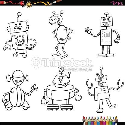 Robot De Caracteres Libro Para Colorear Arte vectorial | Thinkstock