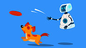 Robot Dogwalker Playing With A Dog Vector. Illustration
