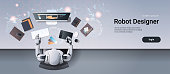 robot graphic designer sitting at creative design studio workplace desk office stuff working process top angle view artificial intelligence technology concept horizontal vector illustration