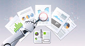 robot hand holding magnifying glass financial graphs report data analysis top angle view artificial intelligence digital futuristic technology concept flat horizontal vector illustration