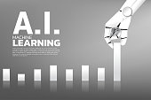business concept of disruption of A.I. to make the domino effect.