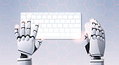 robot hands holding mouse using computer keyboard typing top angle view artificial intelligence digital futuristic technology concept flat horizontal vector illustration