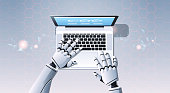 robot hands using laptop computer typing top angle view artificial intelligence digital futuristic technology concept flat horizontal vector illustration