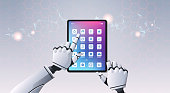 robot hands using tablet computer application top angle view artificial intelligence digital futuristic technology concept horizontal vector illustration