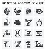 Robot or robotic vector icon set design.