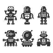 Robot Icons Set on White Background. Vector illustration