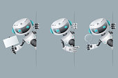 Robot look out corner poster in hand pointing on banner hold magnifying glass technology fiction science future cute little sale 3d design vector illustration
