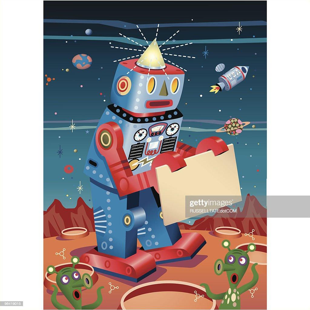 Robot Sign board on Mars : Vector Art