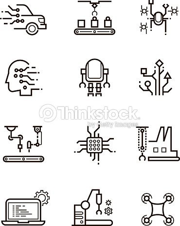 Robot technology and robotic machinery line vector icons. Artificial intelligence symbols