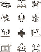 Robot technology and robotic machinery line vector icons. Artificial intelligence symbols. Artificial robotic automation, ai electronic robot illustration