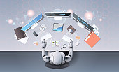 robot using computer monitors typing keyboard at workplace desk office stuff working process top angle view artificial intelligence technology concept horizontal vector illustration