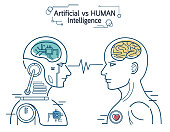 Robot vs human. AI artificial intelligence and human intelligence Concept business disruptive illustration. Vector line design to banner.