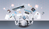 robot with many hands using digital devices at workplace desk office stuff working process top angle view artificial intelligence technology concept horizontal vector illustration