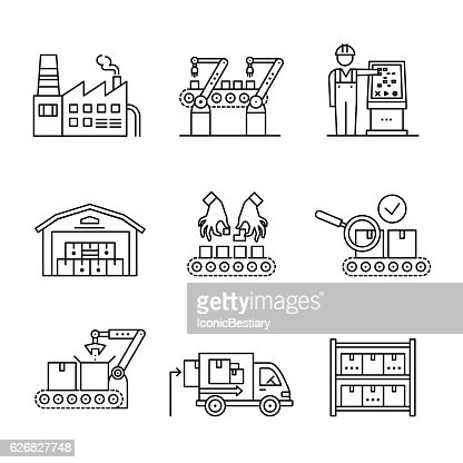 Robotic and manual manufacturing assembly lines : Vector Art