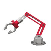 Robotic arm. Isolated on white background. 3d Vector illustration.