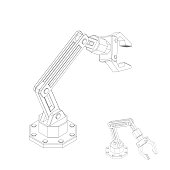 Robotic arm. Isolated on white background. Vector outline illustration. Isometric view.