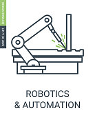 Automatic Robotics Arm Icon Welding Automatic Machine Icon with Outline Style and Editable Stroke