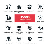Robots - line design silhouette icons set. High quality black pictogram. Home, research, android, industrial, construction kits, medical, firefighting, visually guided, voice controlled, toys, promoti