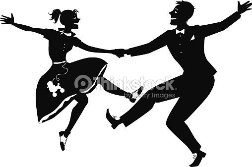 Old Fashioned Men Ballroom Dancing Silhouette