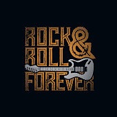 Rock and Roll Forever typographic design for t-shirt print. Global flat colors. Layered vector illustration.