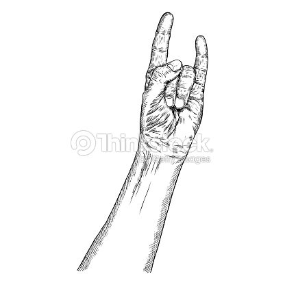 Rock And Roll Hand Sign Hand Drawn Man Style Fist Demon Symbol Male