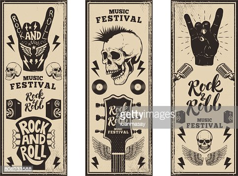 Rock and roll party flyers template. Vintage guitars, punk skull, rock and roll sign on grunge background. Vector illustration : stock vector