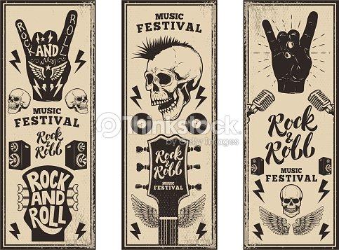 Rock And Roll Party Flyer Vorlage Vintagegitarren Punkschädel Rock ...