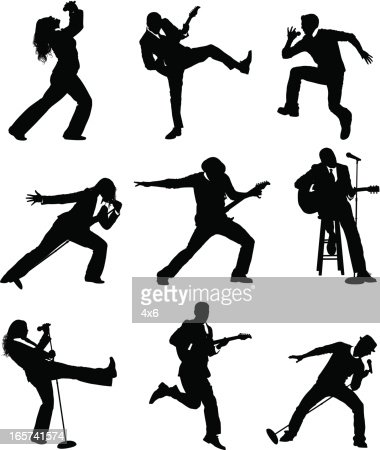 Rock And Roll People Singing Dancing Performing Vector Art
