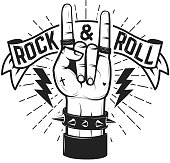 Rock and roll sign. Human hand with heavy metal sign. Rock and roll poster template. Vector illustration.