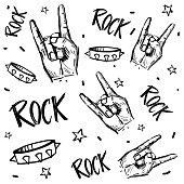 Rock and roll  signs. Seamless pattern with transparent background.
