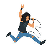 Vector flat style young rock and roll singer with microphone. Singing metal music beautiful man character. Minimalism design with people silhouettes.