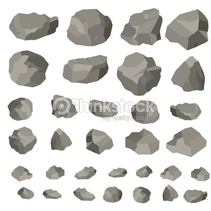 46cf52e9263c8a Rock and stones cartoon, vector illustration isolated on white background.  Large and small stones in isometric 3d flat style