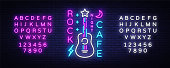 Rock Cafe Logo Neon Vector. Rock Cafe Neon Sign, Concept with guitar, Night Advertising, Light Banner, Live Music, Karaoke, Night Club, Neon Signboard, Design Element. Vector. Editing text neon sign.