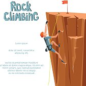 Rock Climbing boy. Isolated On White Background. Graphic Design Tamplate Editable For Your Design. Vector Illustration