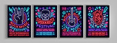 Rock Festival set of posters in neon style. Collection neon sign, an invitation to the concert brochure on roknrol music, bright banner, flyer for festivals, parties and concerts. Vector illustration.