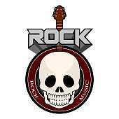 Rock music label with a skull and guitar. Vector illustration design