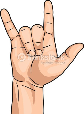 Rock N Roll Hand Sign Isolated On White Background Vector Vector Art