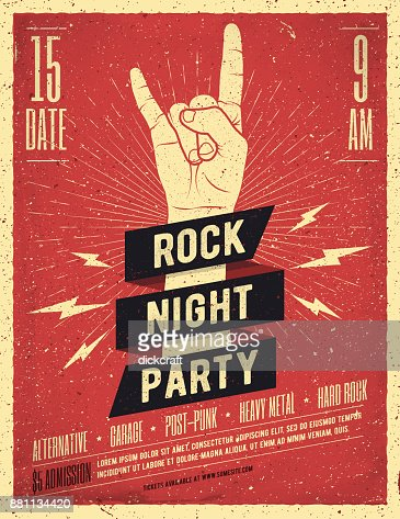 Rock Night Party Poster. Flyer. Vintage Styled Vector Illustration. : Vector Art