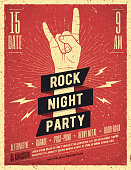 Rock Night Party Poster, Banner, Flyer template. Vintage Styled Vector Illustration.